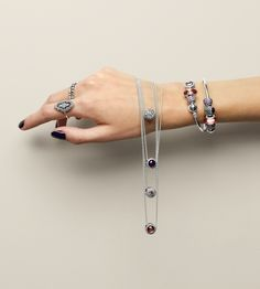 Soft pink, purple and silver look great together! Try wearing your charms in different length necklaces to showcase them even more. The personal and unique expression will for sure make heads turn. Click the image for more inspiration.  #PANDORAmagazine
