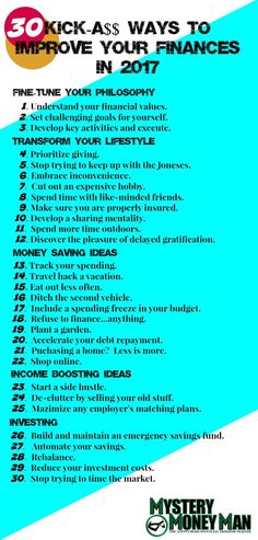 Pin now and read later!  Discover Mystery Money Man's 30 ways to improve your finances in 2017!
