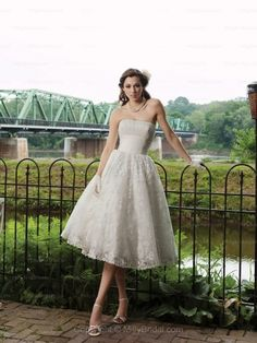 A-line Strapless Lace Satin Tea-length Draped Ivory Wedding Dresses