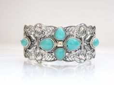 "VINTAGE STERLING SILVER 925 TURQUOISE WIDE CLAMP STATEMENT BRACELET CHINA BJ 7"" #BJ #Statement"