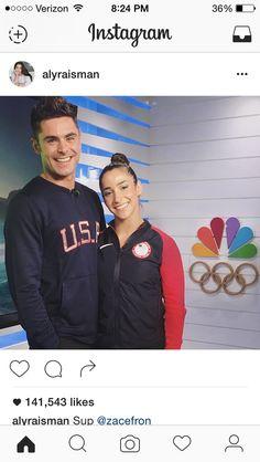 Aly Raisman met Zac Efron Gymnastics Team, Gymnastics Pictures, Gymnastics Posters, Rio Olympics 2016, Summer Olympics, Famous Gymnasts, Madison Kocian, Final Five, Laurie Hernandez