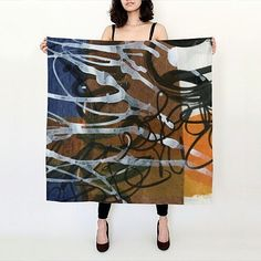 Big square scarf using one of my journal paintings (see the oblong scarf below)…