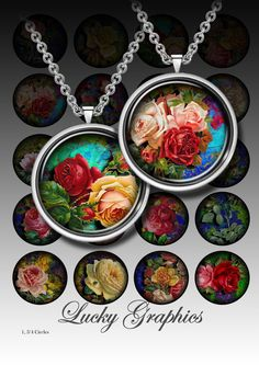 Beautiful roses - Digital Collage Sheet - Printable Images for resin jewelry, paper craft, bottle caps, magnets