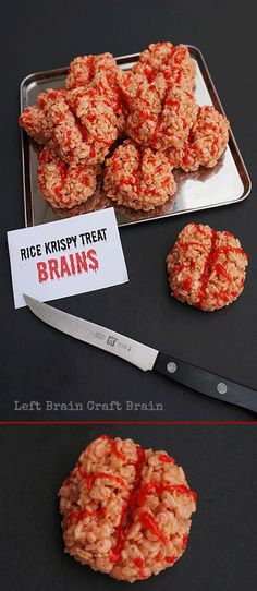 Pin for Later: gross halloween food. Halloween Party Treats Appetizers and Desserts Recipes - Rice Krispies Treats BRAINS Treats - Delicious and CREEPY recipe via Left Brain Craft Brain. Diy Festa Halloween, Spooky Halloween, Buffet Halloween, Postres Halloween, Halloween Party Treats, Halloween Goodies, Halloween Desserts, Snacks Für Party, Spooky Treats