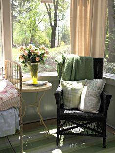 sunny mornings on the porch - The Painted Home: Flea market Style Porch