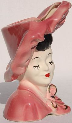 Vintage Lady Head Vase 7 in. Porcelain Vase, Ceramic Vase, Fine Porcelain, Bisque Pottery, Head Planters, Vintage Planters, Head Shapes, Gold Paint, Vintage Ceramic