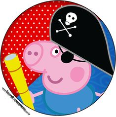 Rótulo Latinhas, Tubetes e Toppers George Pig Pirata (Peppa Pig):