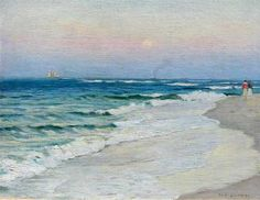 """Chatham, Twilight on the Beach,"" Harold C. Dunbar, ol on canvas, 14 x 18"", Pierce Galleries."