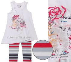 Deux Par Deux *Heart Beat* White Asymmetrical Multi Floral Sleeveless Tunic w/Gray/Red/Charcoal Stripe Leggings Size 2y
