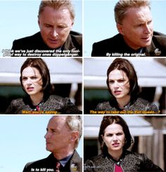"""""""I think we've just discovered the only fool-proof way to destroy ones doppleganger. By killing the original"""" - Rumple and Regina #OnceUponATime (((What?? So Regina has to die? No way!))"""