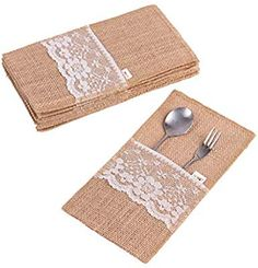 Natural Burlap Cutlery Holder Utensil Bag Lace for Wedding Table Decoration 4 x 8 Inch Wedding Table, Rustic Wedding, Cutlery Holder, Jute, Burlap Table Runners, Burlap Fabric, Party Favor Bags, Cloth Napkins, Plate Sets