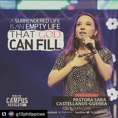 "#Repost @g12philippines (@get_repost)  ""A surrendered life is an empty life that God can fill."" - Ps. @sarag12 #CampusRev2017 #WeAreTheLight"