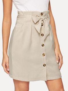 Frilled Bow Tie Waist Button Up Skirt – GaGodeal