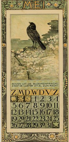 Bird Calendar: May 1907, by Theodoor van Hoytema (1863–1917). Published by Tresling and Co