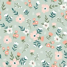 Fabric design with simple flowers. - Trendy Seamless Floral Pattern Fabric Design With Simple Flowers Vector Cute Repeated Ditsy Pattern - Floral Pattern Wallpaper, Cute Patterns Wallpaper, Flower Wallpaper, Fabric Wallpaper, Flower Illustration Pattern, Illustration Blume, Motif Floral, Floral Fabric, Vintage Floral Patterns