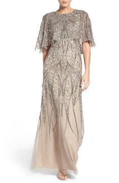 eaf347259a49 Adrianna Papell Beaded Mesh Gown | Nordstrom. Blush Evening DressBlush ...