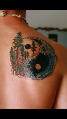 All nature ying and yang tattoo - Nature is the ultimate balance.