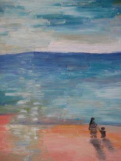 Oil painting walking on the beach at sunset  original by cheerlart