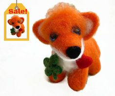 Sale! Needle Felted Fox - Valentine gift by OlessiaWoolPets