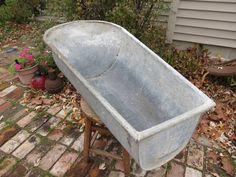 Vintage Krauss Galvanized Childs Bathtub.. $125.00, Via Etsy.