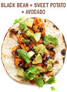 black bean, sweet potato and avocado breakfast taco
