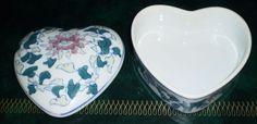 ORIENTAL pottery LOVE HEART SHAPED TRINKET JEWELLERY BOX