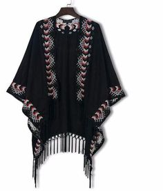 Embroidery Boho Faux Suede Folk Tribal Cover Up