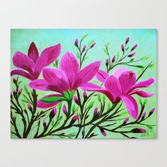 Magnolias Stretched Canvas by maggs326 - $85.00