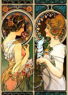 Alphonse Mucha Art Nouveau Two Ladies Colorful by BreatheDecor, $3.50
