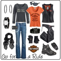 What a great Harley-Davidson inspired look for the biker chick. Lady Biker, Biker Girl, Rockabilly Moda, Harley Davidson Kleidung, Biker Chick Style, Harley Gear, Harley Boots, Harley Davidson Merchandise, Biker Wear