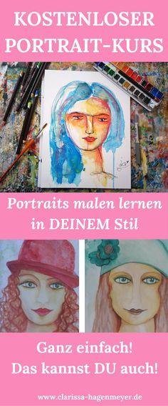 Portraits malen lernen - ganz einfach! In meinem kostenlosen RuckZuck Portrait Tutorial zeige ich dir, wie du ganz einfach und innerhalb weniger Minuten deine ganz eigenen Portraits entstehen lässt. Ganz ohne Druck und mit viel Spaß malen lernen und deinen eigenen Stil finden! :-) Du brauchst nur Wasserfarben und Stifte.
