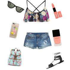 summer by xxfrozengirlxx on Polyvore featuring polyvore fashion style True Religion MINKPINK Topshop Candie's Ray-Ban Casetify NYX Witchery