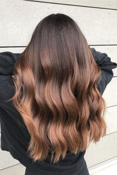 What better way to revamp your chocolate brown than some summer bronzing? This brunette steals every ounce of luster and polish we could dream of, thanks to metallic bronze balayage. Brown Ombre Hair, Brown Hair With Highlights, Brown Blonde Hair, Ombre Hair Color, Light Brown Hair, Brown Hair Colors, Brunette Hair, Dark Hair, Summer Brown Hair