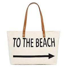 This Straw Studios Graphic Canvas Tote is perfect for a day on the sand!