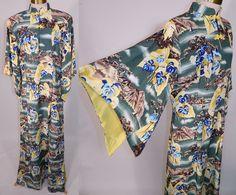 Vintage Hale Hawaii Label Hawaiian Anthurium Print Rayon Pake Muu Muu Dress sz16