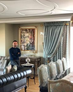 Perdeci Mustafa, Victorian home decor, Teal Living Rooms, Elegant Living Room, Living Room Sofa, Living Room Modern, Luxury Curtains, Home Curtains, Curtain Room, Victorian Home Decor, Victorian Homes