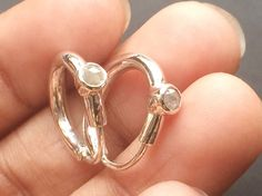 Light Grey Rose Cut Diamond Earrings Rough by gemsforjewels