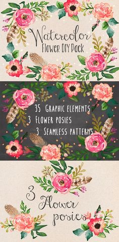 Watercolor Flower DIY Pack Vol.1 by Graphic Box on Creative Market