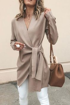 Solid Color V-Neck Casual Outerwear Sweater : Trajes de Moda Mode Outfits, Fashion Outfits, Fashion Ideas, Fall Work Outfits, Outfit Work, Autumn Outfits, Summer Outfits, Classy Fall Outfits, Fall Outfits 2018