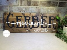 Wooden Wedding Sign, Custom Name Sign, Personalized Wedding Gift, Bridal Shower, Anniversary Gift, Home Decor, Family Name Sign, Rustic Home by scotchnivy on Etsy https://www.etsy.com/listing/470742335/wooden-wedding-sign-custom-name-sign