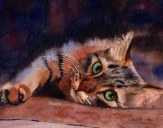 "Tabby Cat Art Print of my Watercolor Painting by rachelsstudio T i t l e : ""Floored II"" A r t i s t : Rachel Parker M e d i u m : Print D i m e n s i o n s: x S p e c i f i c a t i o n s: Signed, Limited Edition"