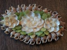 Vintage Oval Brooch Pin Sea Shells Shell Pin Flowers Leaves Hand Made 1970s Mermaid Ocean on Etsy, $10.00