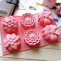 Allforhome (TM) 6 Flowers Silicone Muffin Cups Handmade Soap Molds Biscuit Chocolate Ice Cake Baking Mold Cake Pan