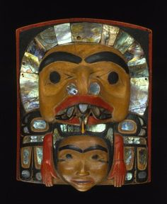 Brooklyn Museum: Arts of the Americas: Crest Frontlet - Attributed to Simeon Stilthda, 1799-1883 Medium: Wood, abalone shell, pigment Dates: 1850-1875