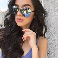 Babe @xoalyynicole wearing the MUSE Sunglasses Black Purple ❤️ Shop Quay Australia online now ➖ www.whitefoxboutique.com or click the link in our bio