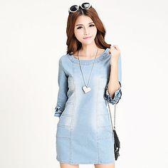 lindo inelástica ½ longitud de la manga de las mujeres sobre el vestido de la rodilla (denim) – MXN $ 422.58