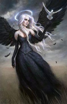All information about Fantasy Art Dark Angels. Pictures of Fantasy Art Dark Angels and many more. Dark Fantasy Art, Fantasy Artwork, Fantasy Kunst, Fantasy Girl, Dark Gothic Art, Dark Angels, Angels And Demons, Fallen Angels, Guardian Angels