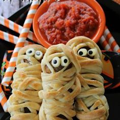 Meatball Mummies Recipe - Spend With Pennies & ZipList This is the cutest Halloween appetizer. So clever!