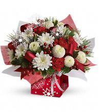 Winter Snowflake Present Perfect, Christmas Gifts, Holiday Gifts, Christmas Flowers, Holiday Arrangements, Allen's Flower Market of Reseda Christmas Cheer.  http://www.allensflowermarketonline.com/winter-snowflake-present-perfect/
