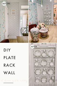 DIY plate rack wall. How to build a custom plate rack that will fit any wall in a kitchen, pantry, or dining room. Ideas to make this cheap and on a budget. This wall-mounted display rack is made of scrap wood to display dishes. Step by step plans on how to make this with dowel rods.
